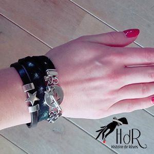 bracelet en cuir noir galaxy