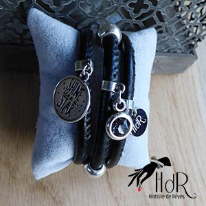 Bracelet de la série pure argenté - Noir