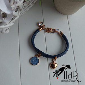 bracelet swarovski et cuir hdr