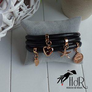 bracelet en cuir rond noir avec breloque