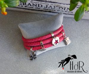 bracelet en cuir rose fait main en belgique
