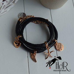 bracelet triple cuir rond et breloques