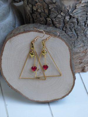 bijoux coeur rouge et or