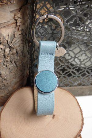 porte clé cuir bleu