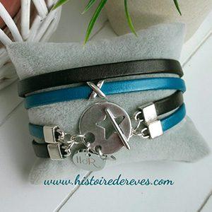 bracelet en cuir double hdr