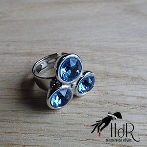 Bague Swarovski 3 cristaux bleu denim