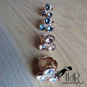 boucles d'oreilles or rosé avec de cristaux Swarovski