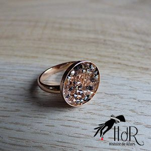 Bague or rosé Swarovski cristal peach métal gris gold