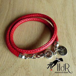 bracelet Aurélie rouge et swarovski