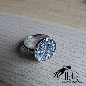 bague swarovski cristal silver