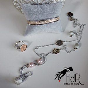Bijoux cuir rose et perles