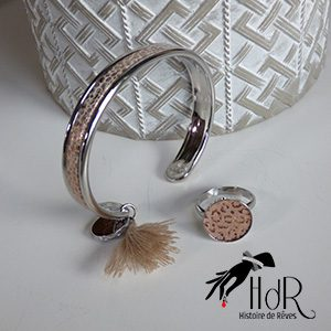 bracelet et bague cuir rose