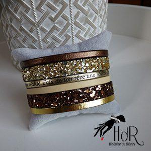 bracelet swarovski cuir beige et brun
