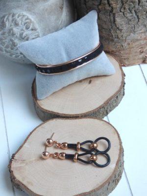 parure gold rose bracelet et boucles d'oreilles