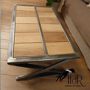 table basse industriel chêne