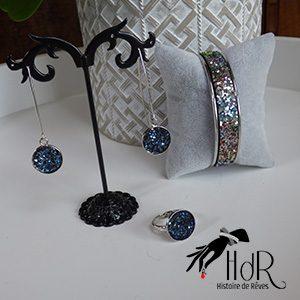 bijoux swarovski bleu paillette