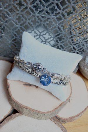bracelet aureli serpent gris noir
