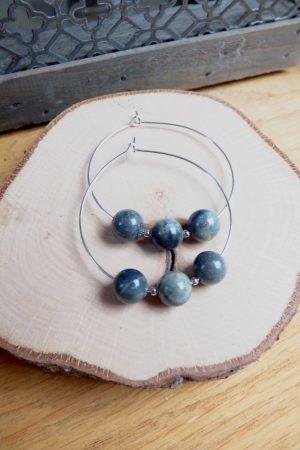 boucles d'oreilles creoles et perles gris